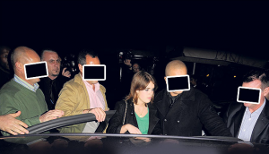 princess eugenie leaving nightclub protection officers