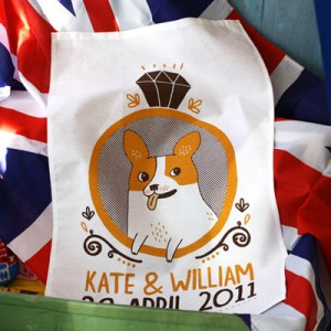 corgi royal wedding tea towel