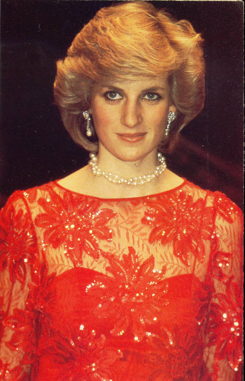 princess diana, red lace, norway 1984