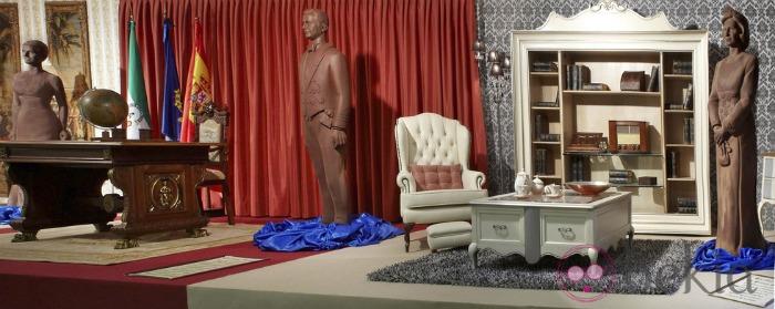 chocolate figures of princess letizia, prince felipe, queen sofia