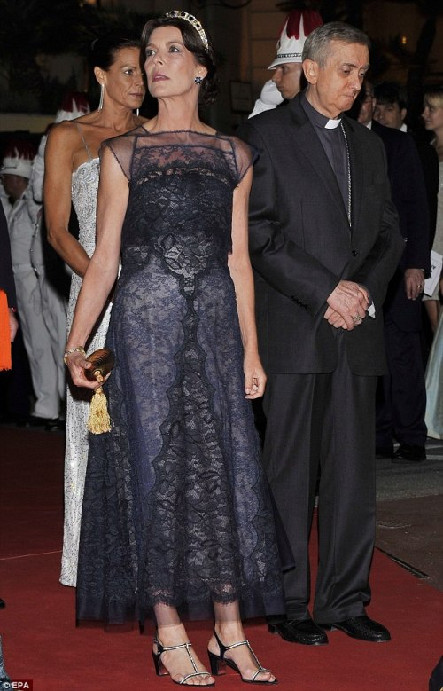 princess caroline black lace monaco royal wedding 2011