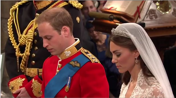 prince william kate middleton kneeling during wedding