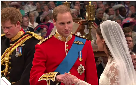 Prince William loving look at Catherine during wedding